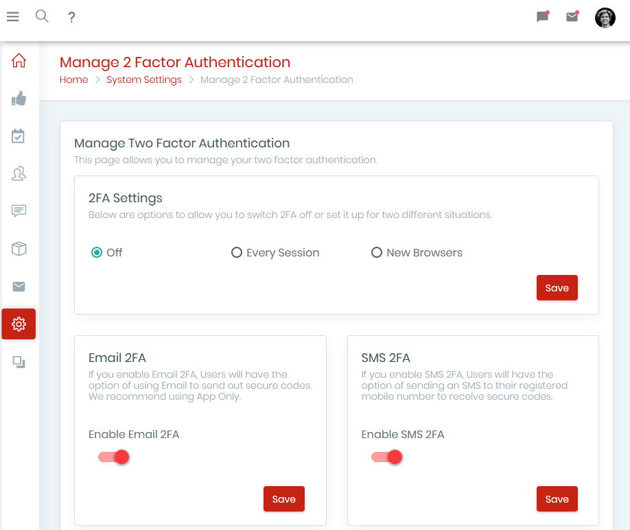 two-factor authentication (2FA) software screen